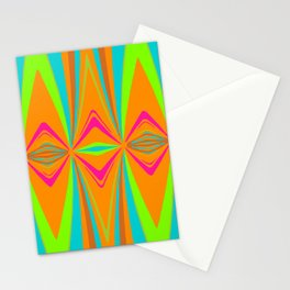 orange pink blue green symmetry art abstract background Stationery Cards
