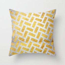 Brick Pattern 1 in Gold and Silver Throw Pillow