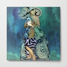 Woman with Dove (mixed media) Metal Print