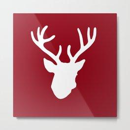 Deer Head: Red Metal Print