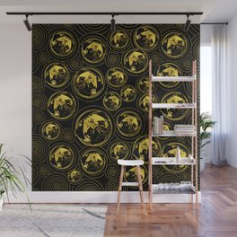 Pug Puppy Pattern gold and black Wall Mural