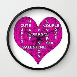 Hot Pink Marble Heart With Words Wall Clock