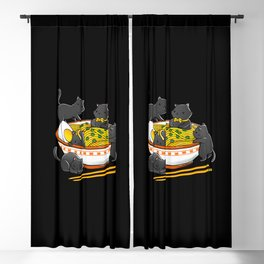Kawaii Anime Cat Japanese Ramen Noodles Blackout Curtain