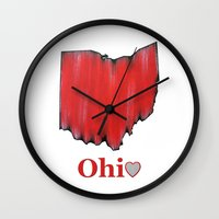 ohio state Wall Clocks featuring Ohio State Love by Fischer Fine Arts