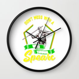 Don't Mess With A Guy Who Throws Spears Javelin Wall Clock