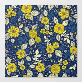 Yellow & Blue Floral Pattern Canvas Print