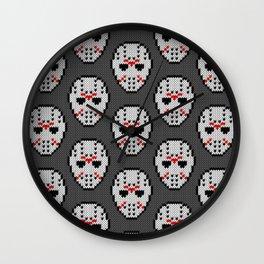 Knitted Jason hockey mask pattern Wall Clock