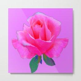 """PINK LOVERS"" PINK ROSE ON  PINK COLOR Metal Print"