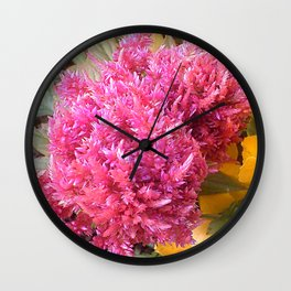A Pink Celosia Wall Clock