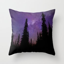 Milky Way Galaxy Over the Forest Throw Pillow
