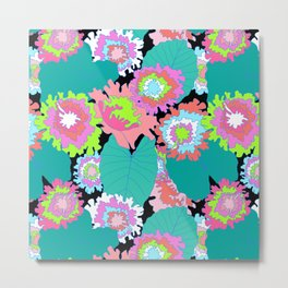 Amazon Rainforest Floral in Black + Neon Metal Print