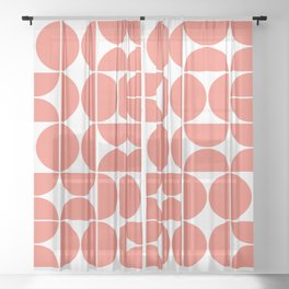 Mid Century Modern Geometric 04 Living Coral Sheer Curtain