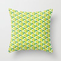 green pattern Throw Pillows featuring pattern green by colli1.3designs