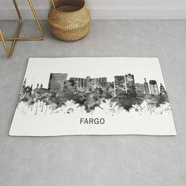 Fargo North Dakota Skyline BW Rug