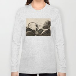Black and White Photo of Louis Armstrong with Punk Fan Long Sleeve T-shirt