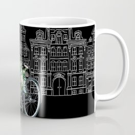 Enjoy the Adventure City and Bicycle on Black Background Coffee Mug