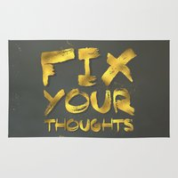 "pocketfuel Area & Throw Rugs featuring Phil 4:8 ""Fix your thoughts..."" by Pocket Fuel"