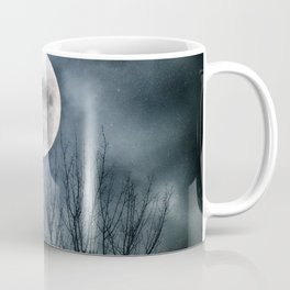 Night Raven Lit By The Full Moon Coffee Mug