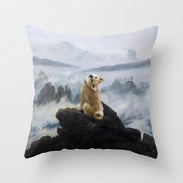 The Wanderer Above the Sea of Doge Throw Pillow