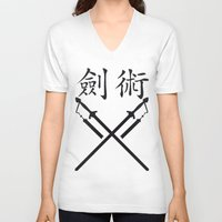 sword V-neck T-shirts featuring China Sword by Littlebell