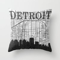 detroit Throw Pillows featuring DETROIT by Rustic Refresh