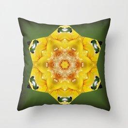 Orchid - Cymbidium Via Ambarino mandala/kaleidoscope I Throw Pillow
