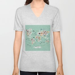 Cartoon animal world map for children and kids, back to school. Animals from all over the world Unisex V-Neck