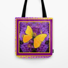 DECORATIVE LILAC-YELLOW FRAMED BUTTERFLY Tote Bag