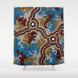 Authentic Aboriginal Art - Wetland Dreaming Shower Curtain
