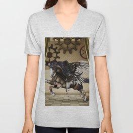 Wonderful dark steampunk unicorn with wings Unisex V-Neck