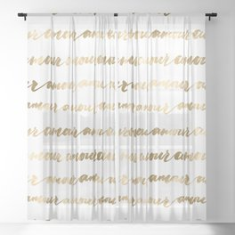 Amour French Love Script Gold Typography Pattern 2 Sheer Curtain