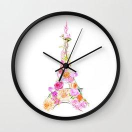 Floral Eiffel Tower Wall Clock