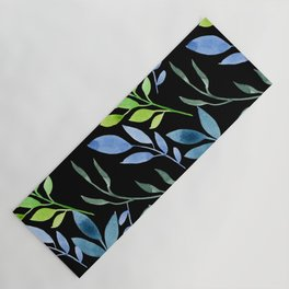 Blue and Green Leaves Yoga Mat