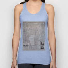 Vintage Map of Lake Tahoe Calfornia (1874) Unisex Tank Top
