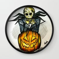 jack skellington Wall Clocks featuring Jack Skellington  by Aonerud