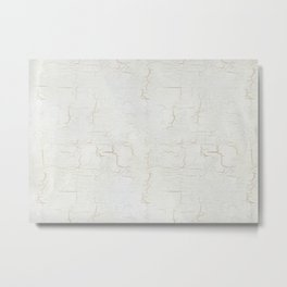 White Crackle Paint on Gold Pattern Metal Print
