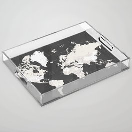 Chalkboard world map with countries and states labelled Acrylic Tray