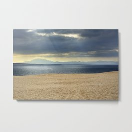 Sand dune, Meditarranean sea and African mountains. Metal Print