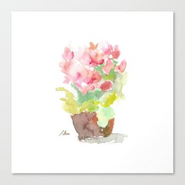 Watercolor Spring Flowers in a Clay Pot Canvas Print