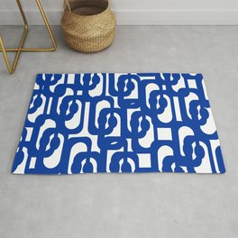 Bright Blue and White Mid-century Modern Loop Pattern  Rug