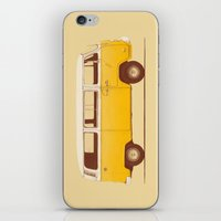 brown iPhone & iPod Skins featuring Yellow Van by Florent Bodart / Speakerine