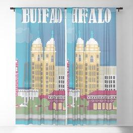 Buffalo, New York - Skyline Illustration by Loose Petals Sheer Curtain