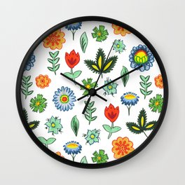 Fun Folk Floral Pattern Wall Clock