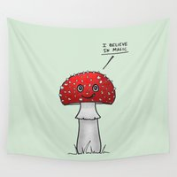 mushroom Wall Tapestries featuring Magic Mushroom by Barruf