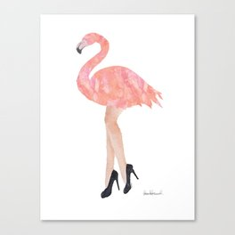 Pink flamingo with legs and high heels watercolor Canvas Print