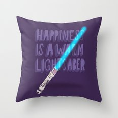 Happiness is a warm Lightsaber Throw Pillow
