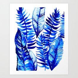 Jungle Leaves & Ferns in Blue Art Print