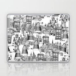 Doctor Who Toile de Jouy | 'Walking Doodle' | Black Laptop & iPad Skin