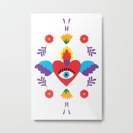 Sacred Heart Evil Eye Mexican Otomi Embroidery Metal Print