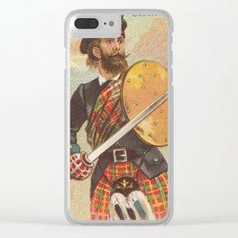 Vintage Scottish Warrior Illustration (1887) Clear iPhone Case